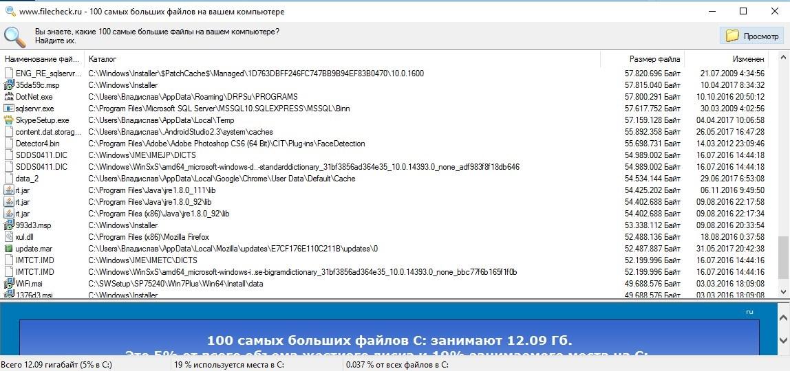Самые большие файлы на диске C: