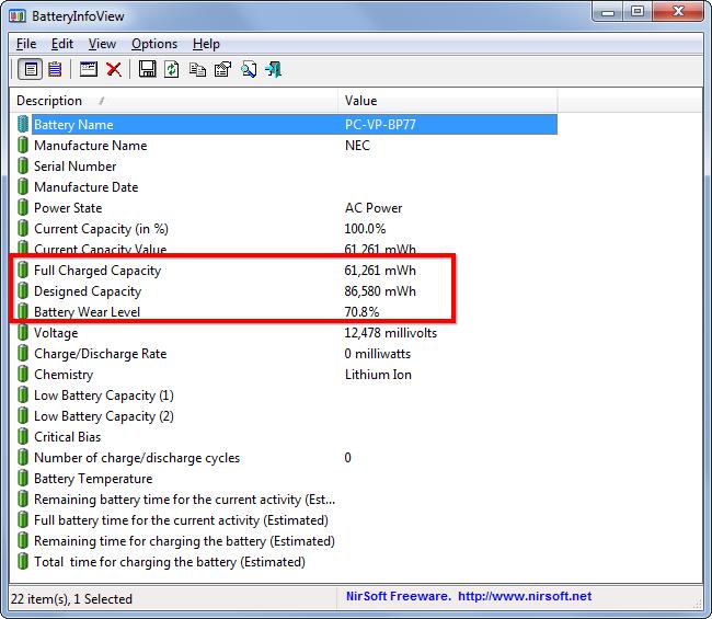 batteryinfo утилита для владельцев ноутбуков и нетбуков